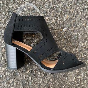 """Top Moda Black Nubuck 3"""" Open Toe Block Heel"""